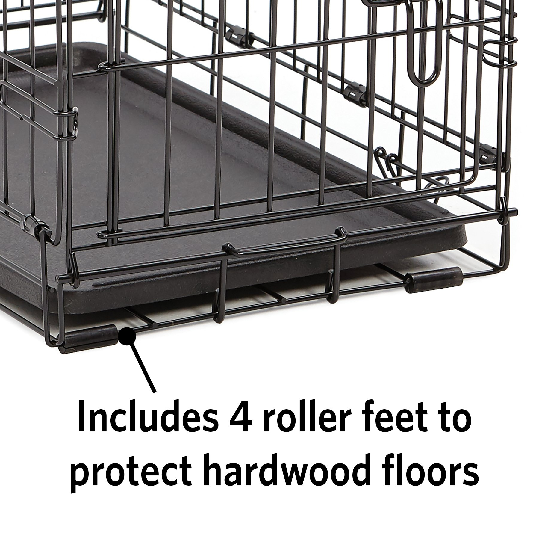 XL Dog Crate | MidWest iCrate Double Door Folding Metal Dog Crate w/ Divider Panel, Floor Protecting Feet & Leak-Proof Dog Tray | 48L x 30W x 33H Inches, XL Dog Breed, Black by MidWest Homes for Pets (Image #3)