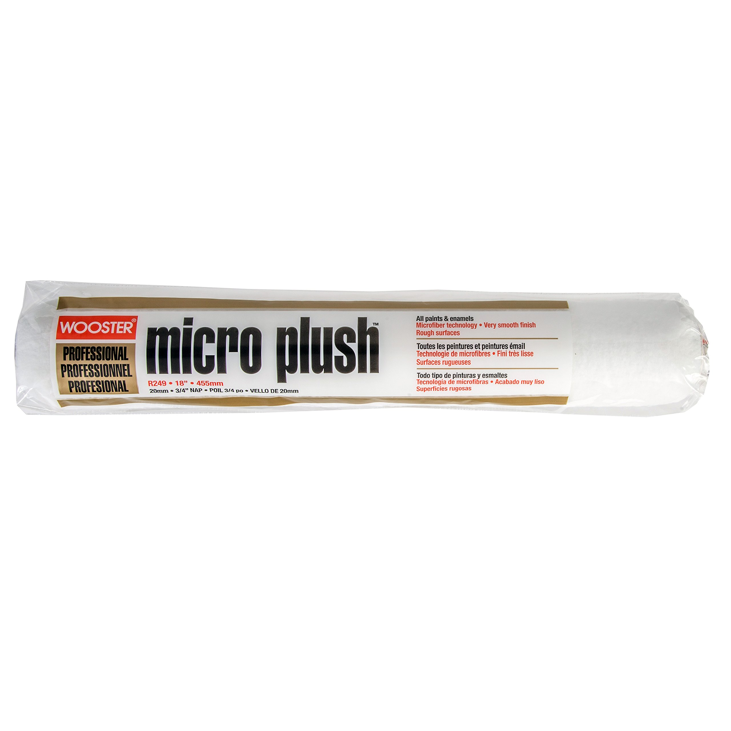 Wooster Brush R249-18 Micro Plush Roller Cover with 3/4 Nap, 18''