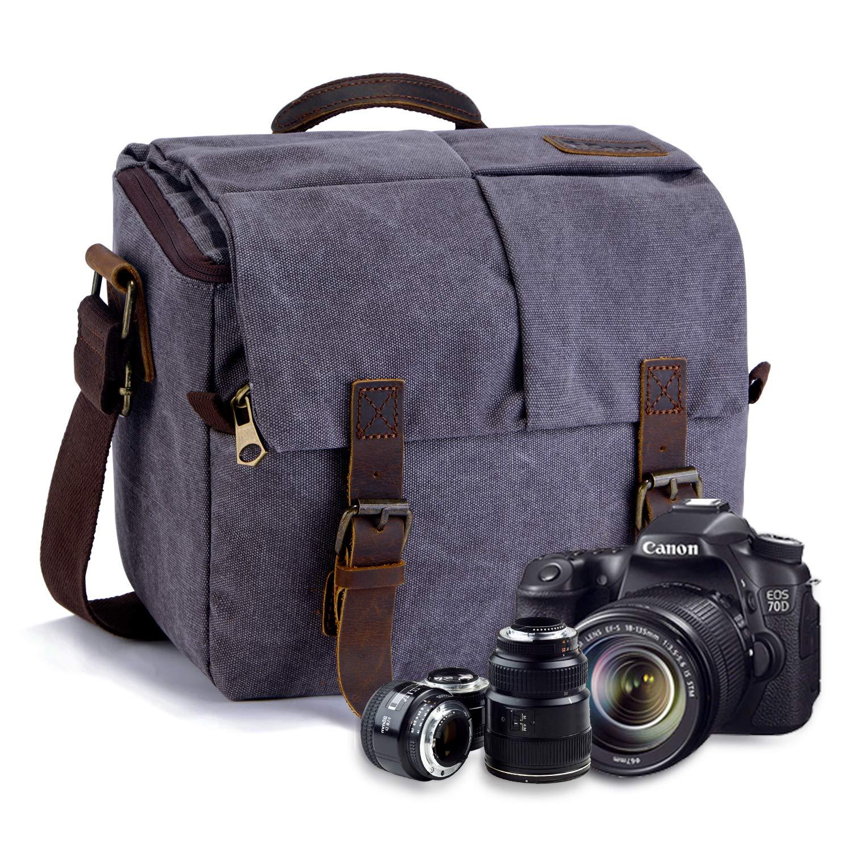 3e4cdf49b082d FOLUR Waterproof Vintage DSLR SLR Camera Messenger Bag: Amazon.co.uk: Camera  & Photo