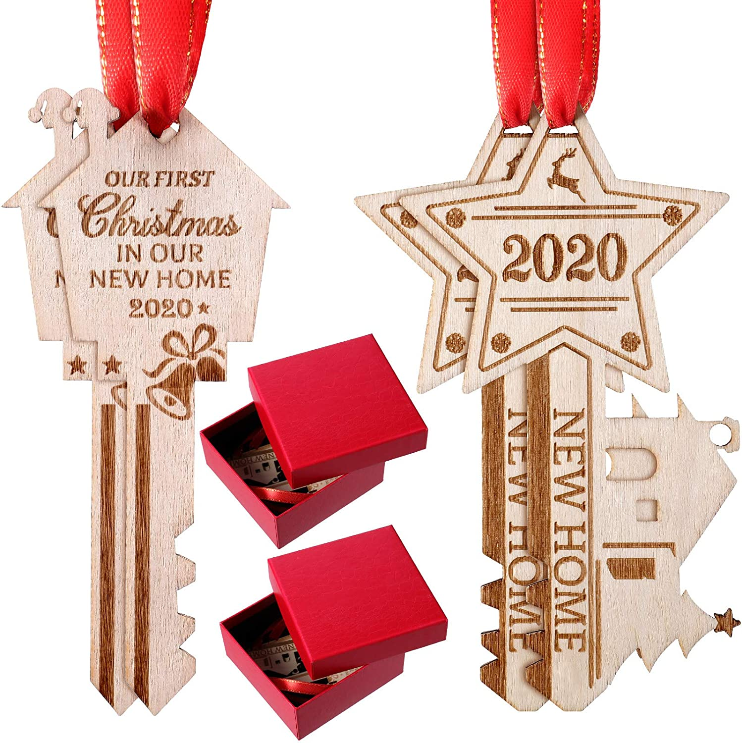 4 Pieces 2020 Christmas Ornament Our First Christmas in Our New Home Wood Key Hanging Ornament Christmas Tree Hanging Decoration with 2 Pieces Boxes for Christmas New Year Housewarming Decor, 2 Style