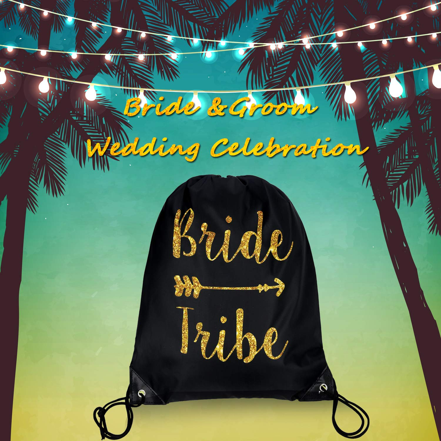 12 Pieces Bride and Bride Tribe Drawstring Bags Wedding Drawstring Gift Bag Bridal Party Favor Bags for Bridesmaids Bridal Party Bridal Shower, 16.5 x 13.4 inch (Black) by Maitys (Image #6)