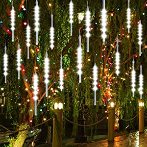 Number-one Meteor Shower Lights, LED Falling Rain Lights 30cm 8 Tube 144 LEDs Waterproof Double-Sided SMD Lamp Beads Icicle Snow Fall String Lights for Xmas Trees Parties Wedding Garden (White, SMD)