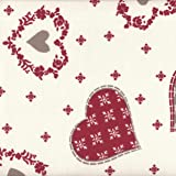 Tessuto natalizio - cuori e fiocchi neve (ecru con rosso e taupe) | 100% puro cotone | altezza: 160 cm (1 metro), a metro / metraggio