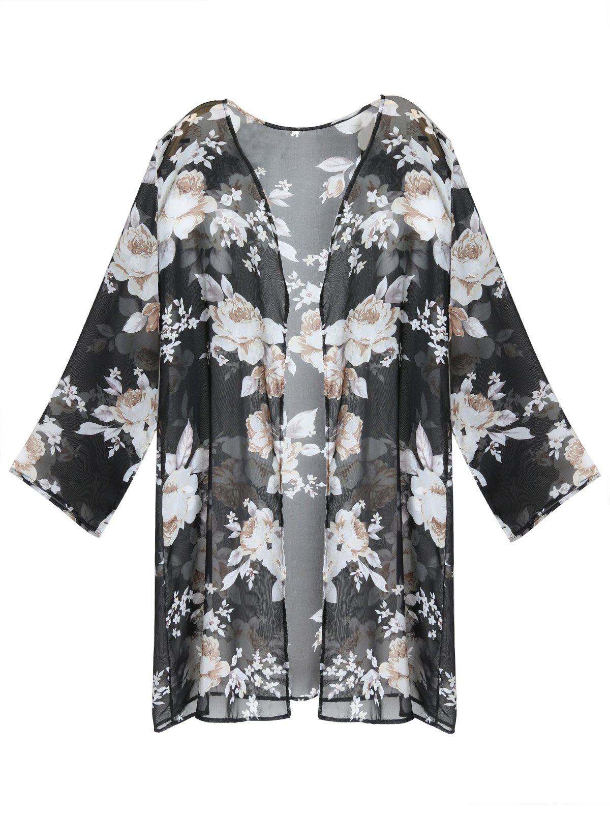 GESSY Beach Cover Up, Womens Long Sleeve White Peony Sheer Floral Print Chiffon Blouse Casual Loose Tops Chic Open Front Floral Print Cardigan Kimono Capes Cover Ups Black L