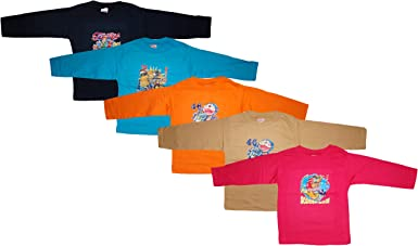 KIFAYATI BAZAR Round Neck T Shirt Full Sleeve Cotton Hosiery T-Shirt Kids top tees Multi Color Pack of 5 Boys' T-Shirts at amazon