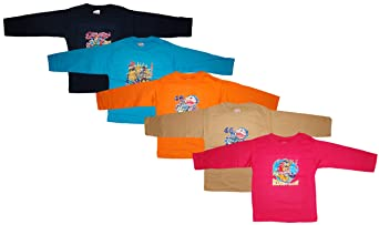 KIFAYATI BAZAR Round Neck T Shirt Full Sleeve Cotton Hosiery T-Shirt Kids top tees Multi Color Pack of 5 Boys' T-Shirts & Polos at amazon