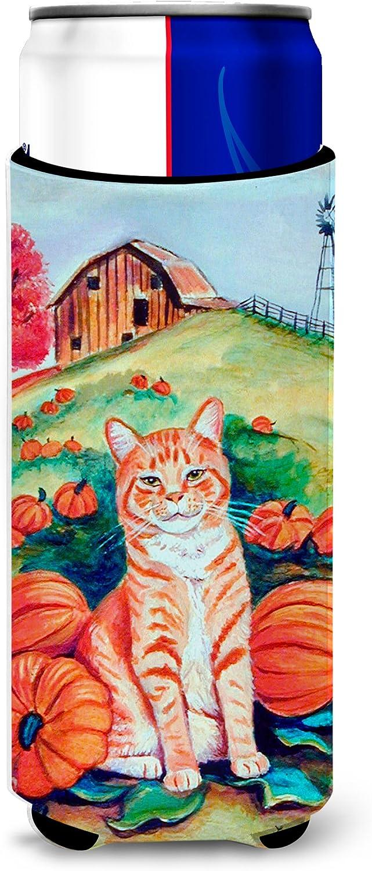 Caroline's Treasures 7123MUK Tabby Cat in Pumpins Ultra Beverage Insulators for slim cans, Slim Can, multicolor
