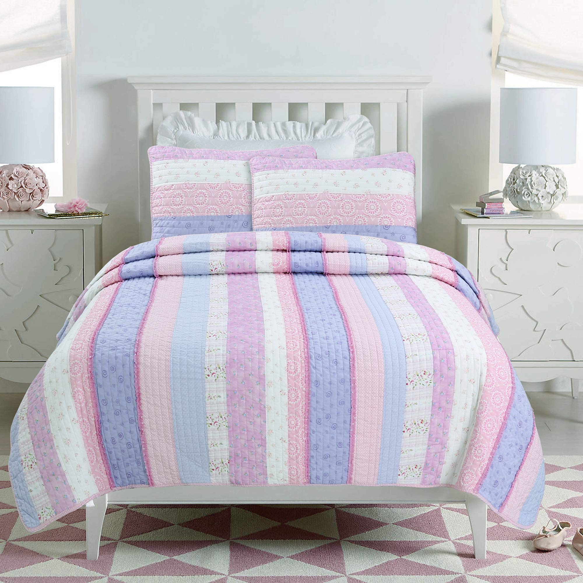 Cozy Line Home Fashions Eden Pink Lilac White Romantic Lace Floral Flower Pattern Printed Striped 100% Cotton Bedding Quilt Set Reversible Coverlet Bedspread for Girls (Lilac Stripe, Twin - 2 Piece)