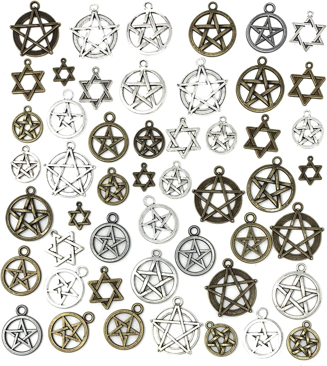 JIALEEY 48pcs Mixed Magic Pentacle Hexagram Star Protection Lucky Charms Pendants DIY for Necklace Bracelet Jewelry Making, Antique Silver Bronze