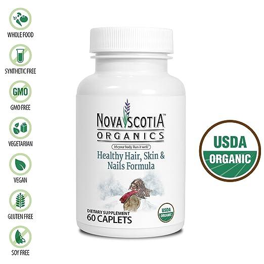 Nova Scotia Organics Healthy Hair, Skin & Nails Formula (60 Caplets); Certified Organic; Vegan; Organic Bhringaraj, Guava, Acerola, Horsetail Herb, Spirulina, Annato, Sesbania and Lemon Peel