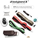 Pull Up Resistance Loop Bands, BodybandX Heavy Assist Pull Up Bands for Men Women, Exercise Workout Bands 5 in1 Set, eBook, Door Anchor, Ankle Strap & Bag (Single Unit)