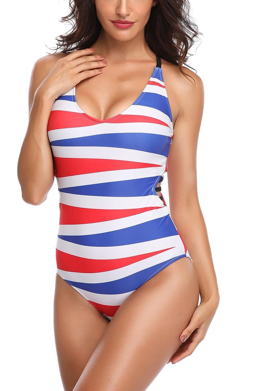 eba5eba3ac Memory baby Women's One Piece Monokini Swimsuit Vintage Swimwear Bodysuit  at Amazon Women's Clothing store: