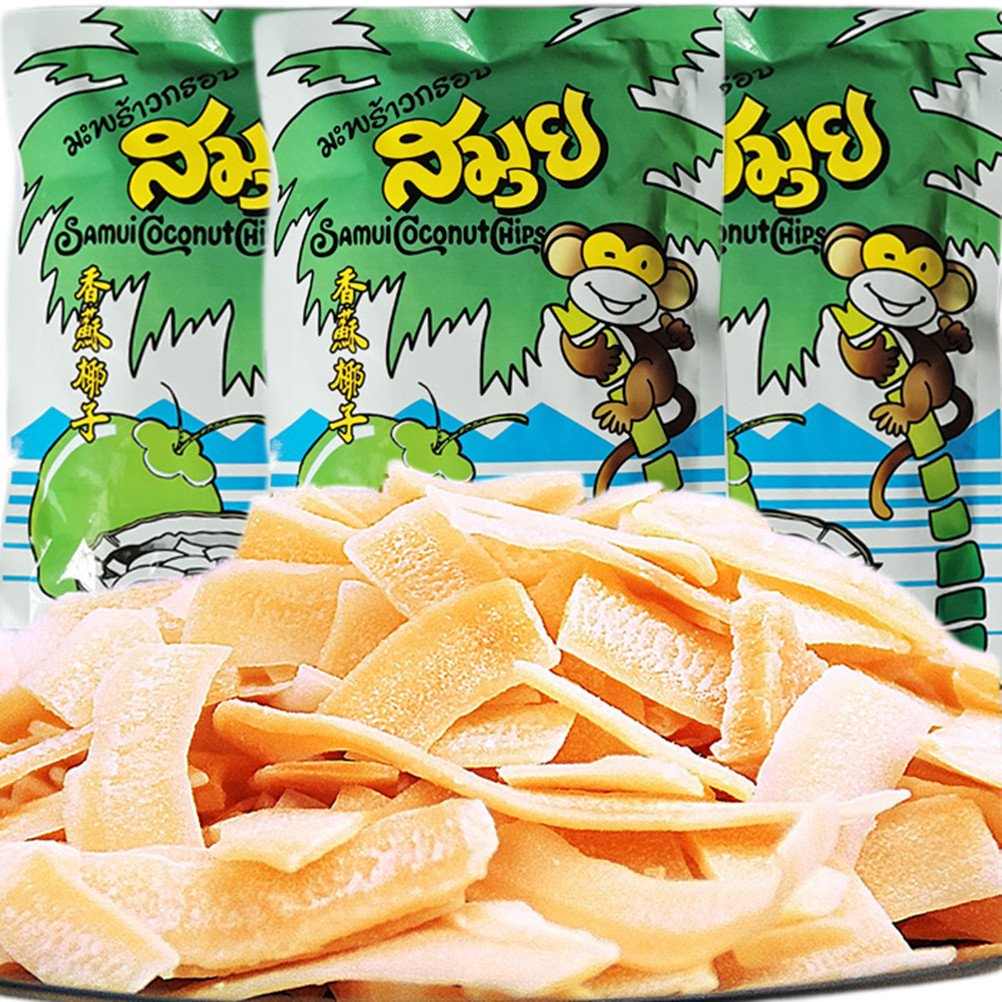 Thailand Samui Coconut Chips, Thai Toasted Coconut Chips, Specialty, Snack, Food (160g (5.6 Oz) / Packs 4 40g)