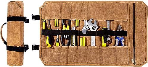 Heavy Duty Waxed Canvas Tool Roll, Sturdy And Waterproof Khaki