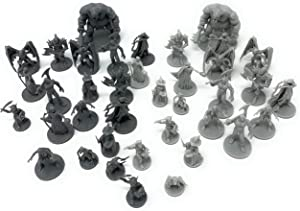 38 Miniatures Fantasy Tabletop RPG Figures for Dungeons and Dragons, Pathfinder Roleplaying Games. 28MM Scaled Miniatures, 10 Unique Designs, Bulk Unpainted, Great for D&D/DND