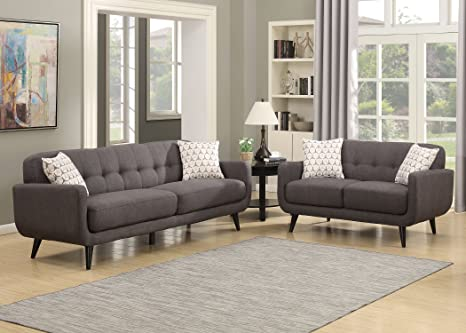 AC Pacific Crystal Collection Upholstered Charcoal Mid-Century 2-Piece  Living Room Set with Tufted Sofa and Loveseat and 4 Accent Pillows, Charcoal