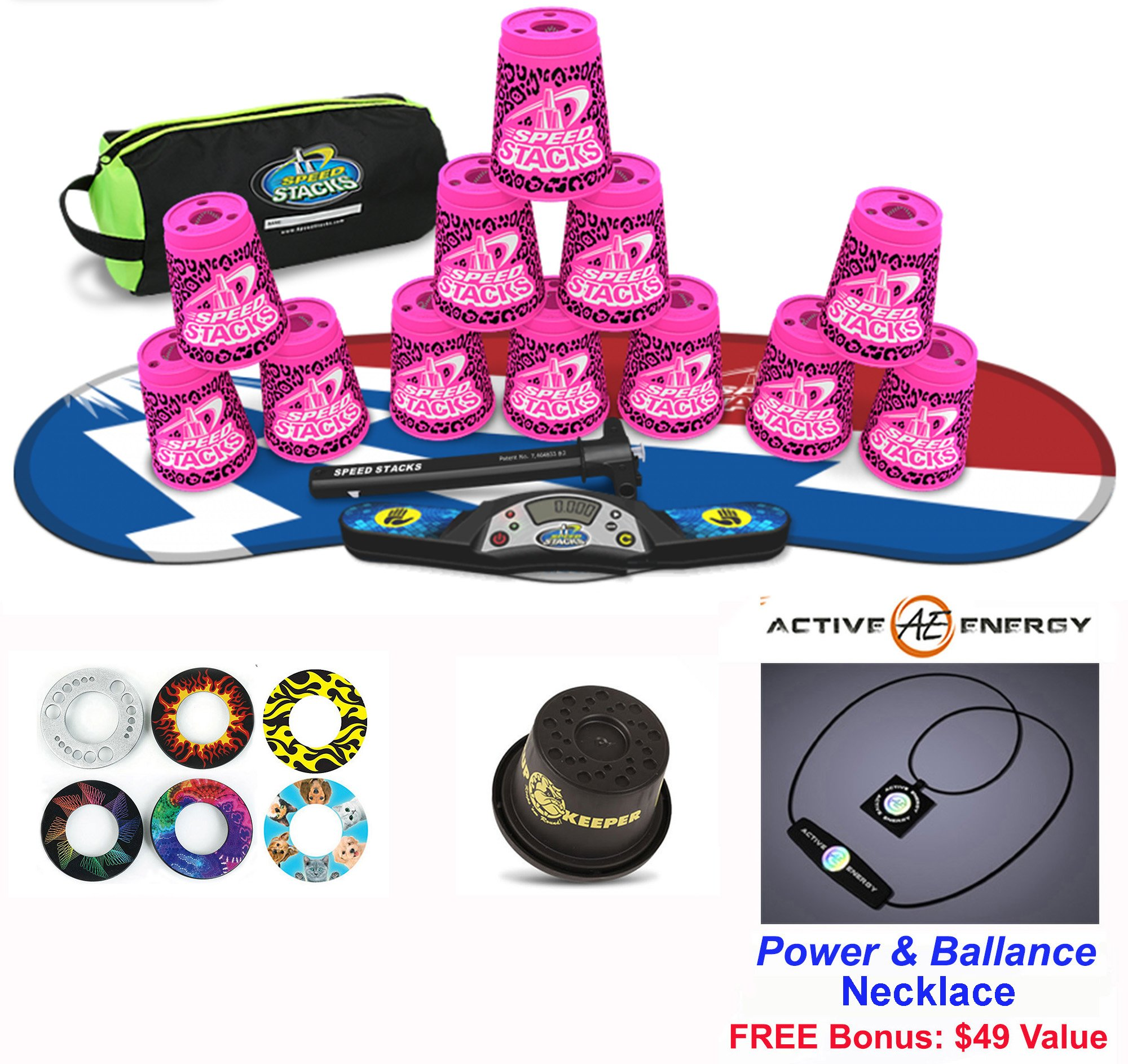 Speed Stacks Combo Set 'The Works'': 12 ZIPPY LEOPARD 4'' Cups, Atomic Punch Gen 3 Mat, G4 Pro Timer, Cup Keeper, Stem, Gear Bag + Active Energy Necklace by Speed Stacks