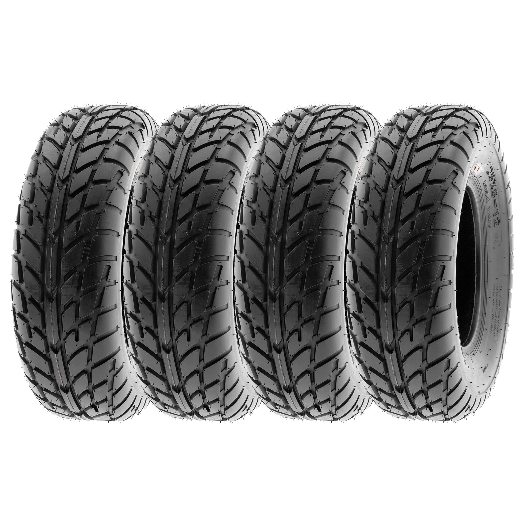 SunF Sport Race Replacement ATV UTV 6 Ply Tires 25x8-12 25x8x12 Tubeless A021, [Set of 4] by SUNF