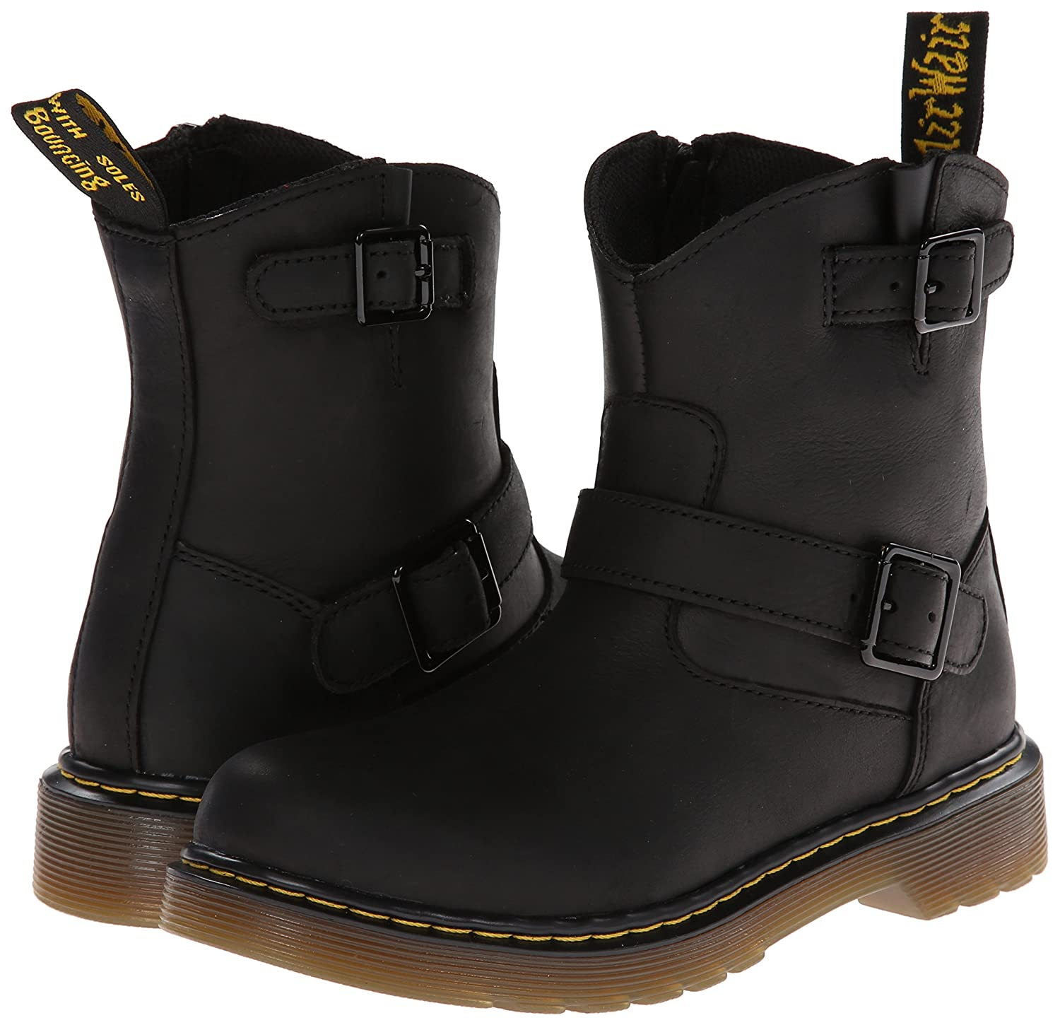 Dr. Martens Lydia, Boots mixte enfant - Noir (Black Burnished Wyoming), 34 EU (2 UK)