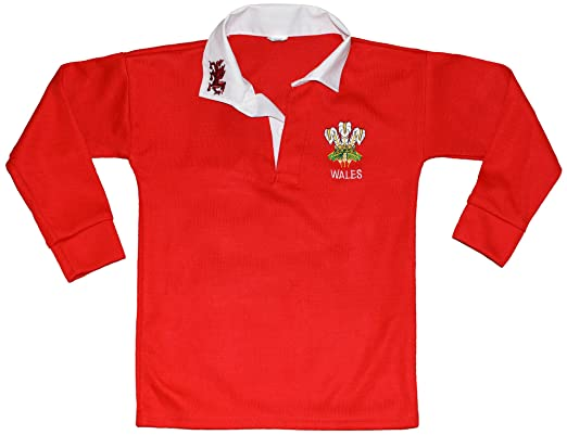663ab9f8bc1 Wales Welsh Cymru Rugby Shirts for boys and girl by active wear size 22,to