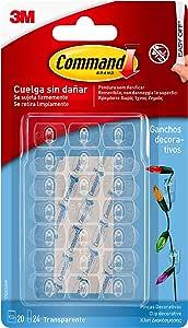 Command 17026CLR - Ganchos mini para decoración con tiras transparente, Pack de 20