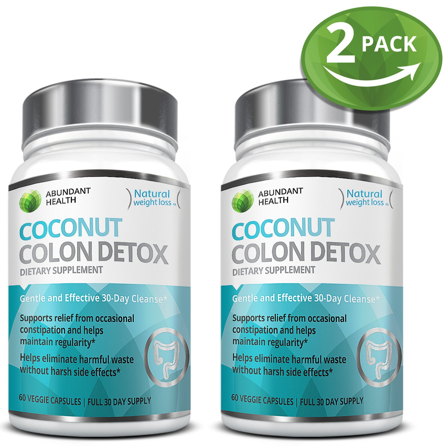 2 Bottle Bundle - Save an Extra 5% - Gentle Colon Detox Cleanse HELPS Reduce Bloating Constipation and Weight Loss 30 Day Quick Cleanse