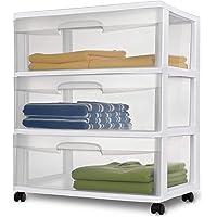 Sterilite 3 Drawer White Wide Storage Cart