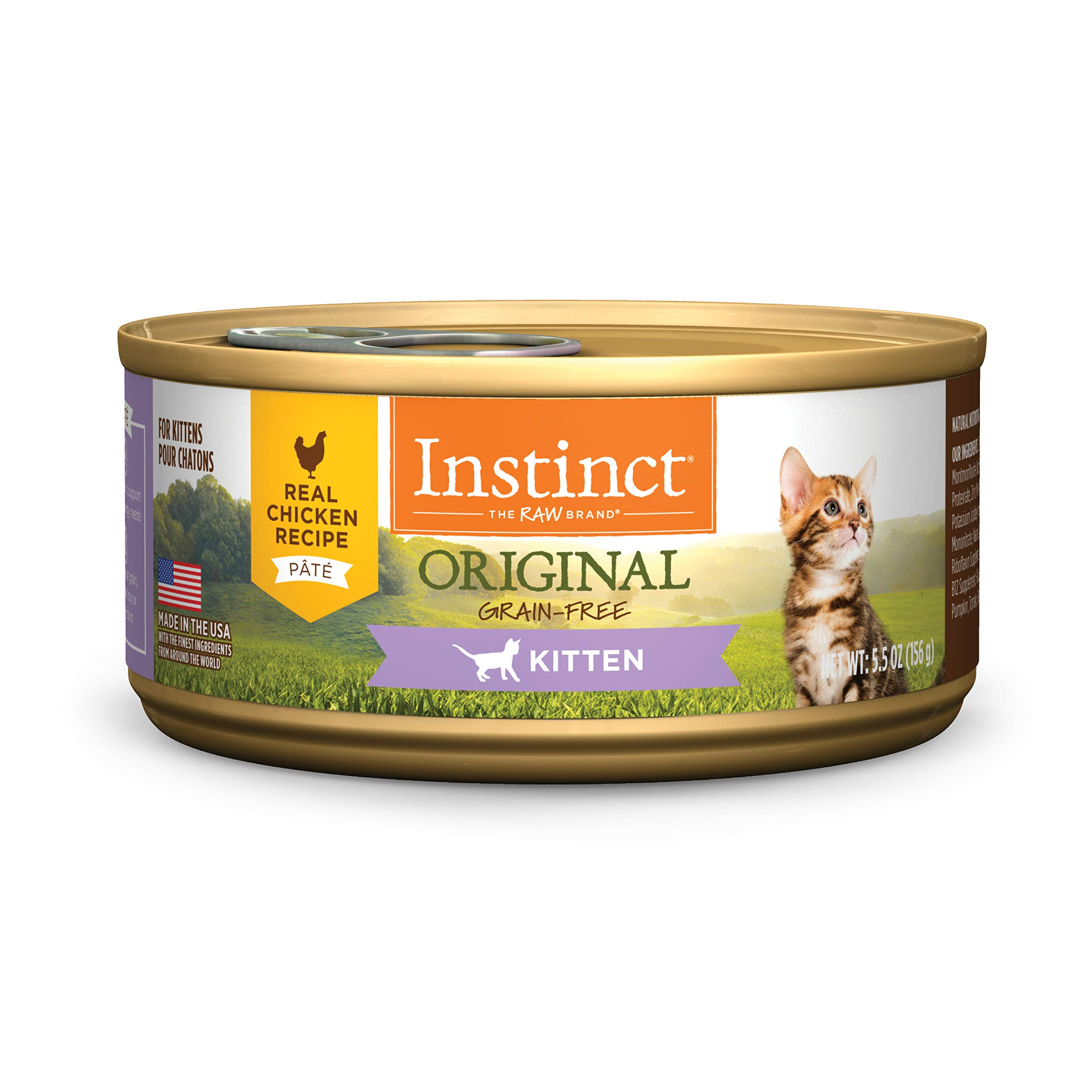 Instinct Original Kitten Grain Free Real Chicken Recipe Natural Wet Canned Cat Food by Nature's Variety, 5.5 oz. Cans (Case of 12) by Instinct