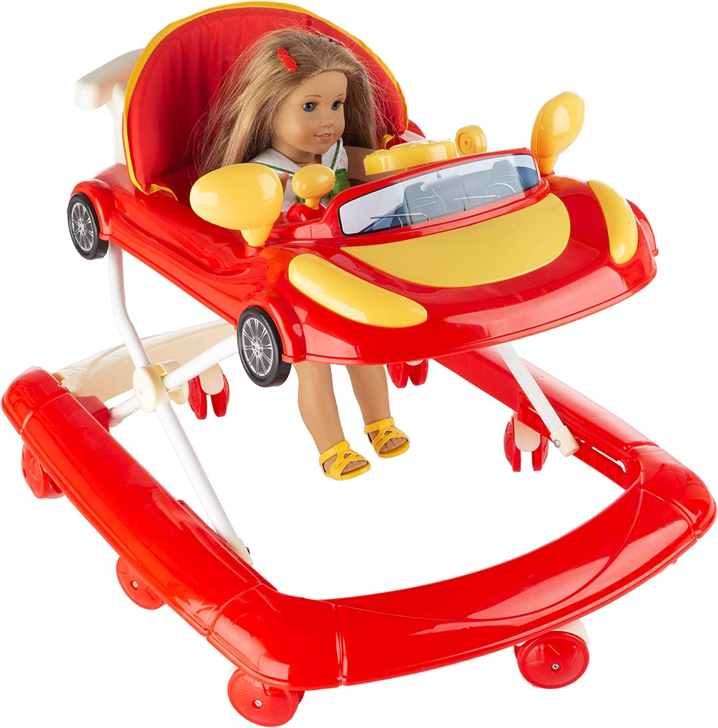Hey! Play! Doll Walker-Baby Doll & Stuffed Animal Mobile Push Toy with Fun Car Design-Adjustable Height for Different Sized Toys-Play Accessories