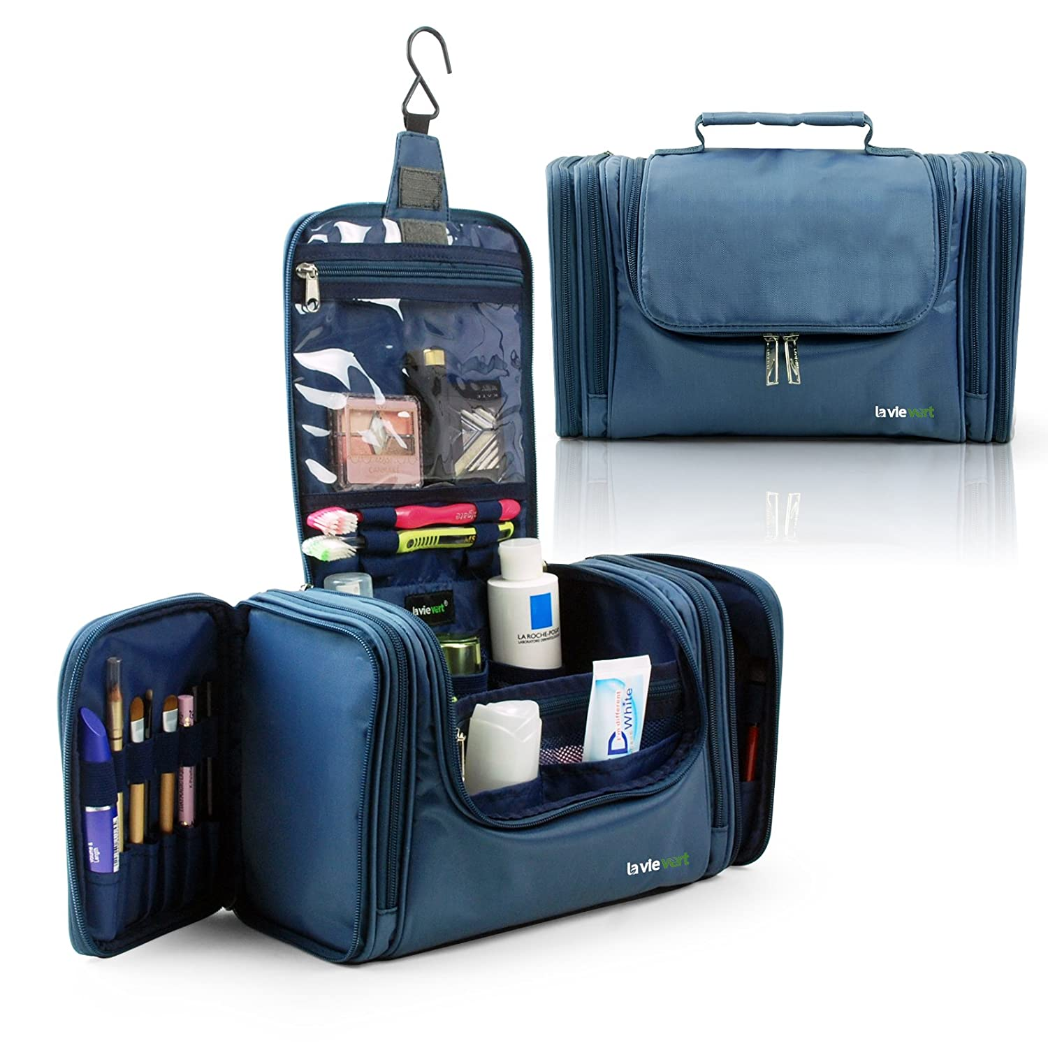 Lavievert Toiletry Bag/Makeup Organizer/Cosmetic Bag/Portable Travel Kit Organizer/Household Storage Pack/Bathroom Storage with Hanging for Business, Vacation, Household - Blue