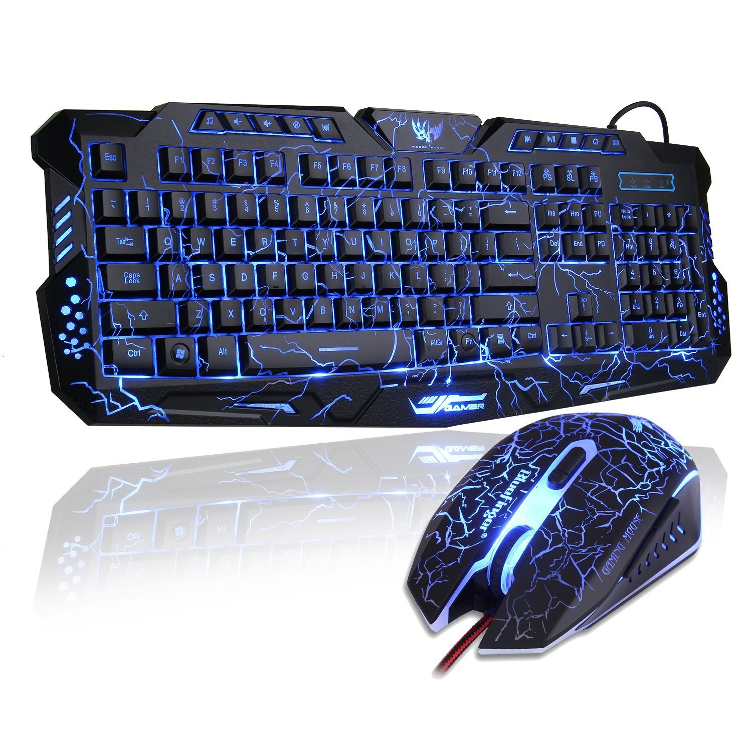 BlueFinger Wired LED Backlit Gaming Keyboard and Mouse Combo for PC Games Office+Customised MousePad by BlueFinger