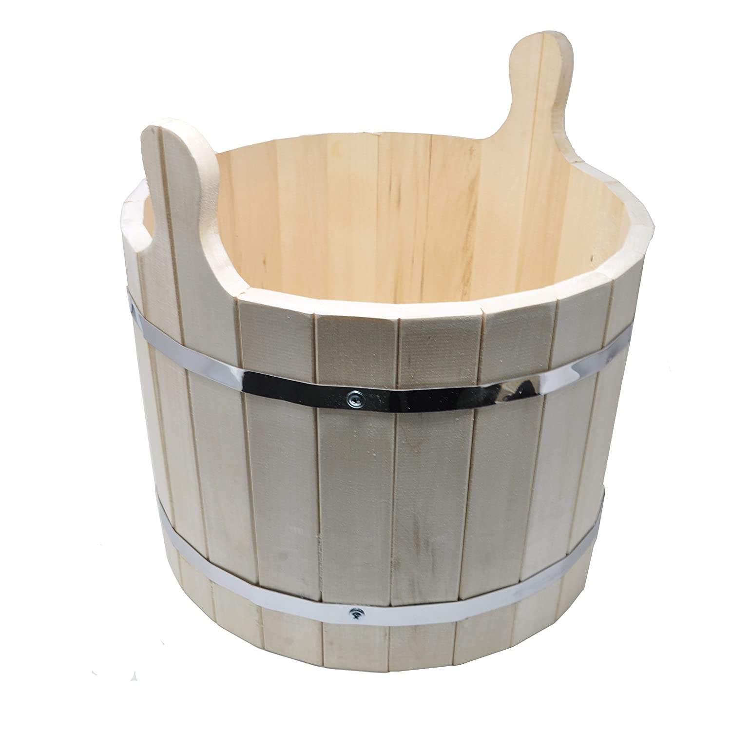 Large Natural Wooden Bucket - 20 Liters - For Sauna, Russian Banya or Decoration - Made in Siberia (Russia) Aucun