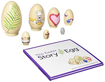 Amazon the easter story egg colorful nesting toy with the easter story egg colorful nesting toy with resurrection book great christian or catholic negle Gallery