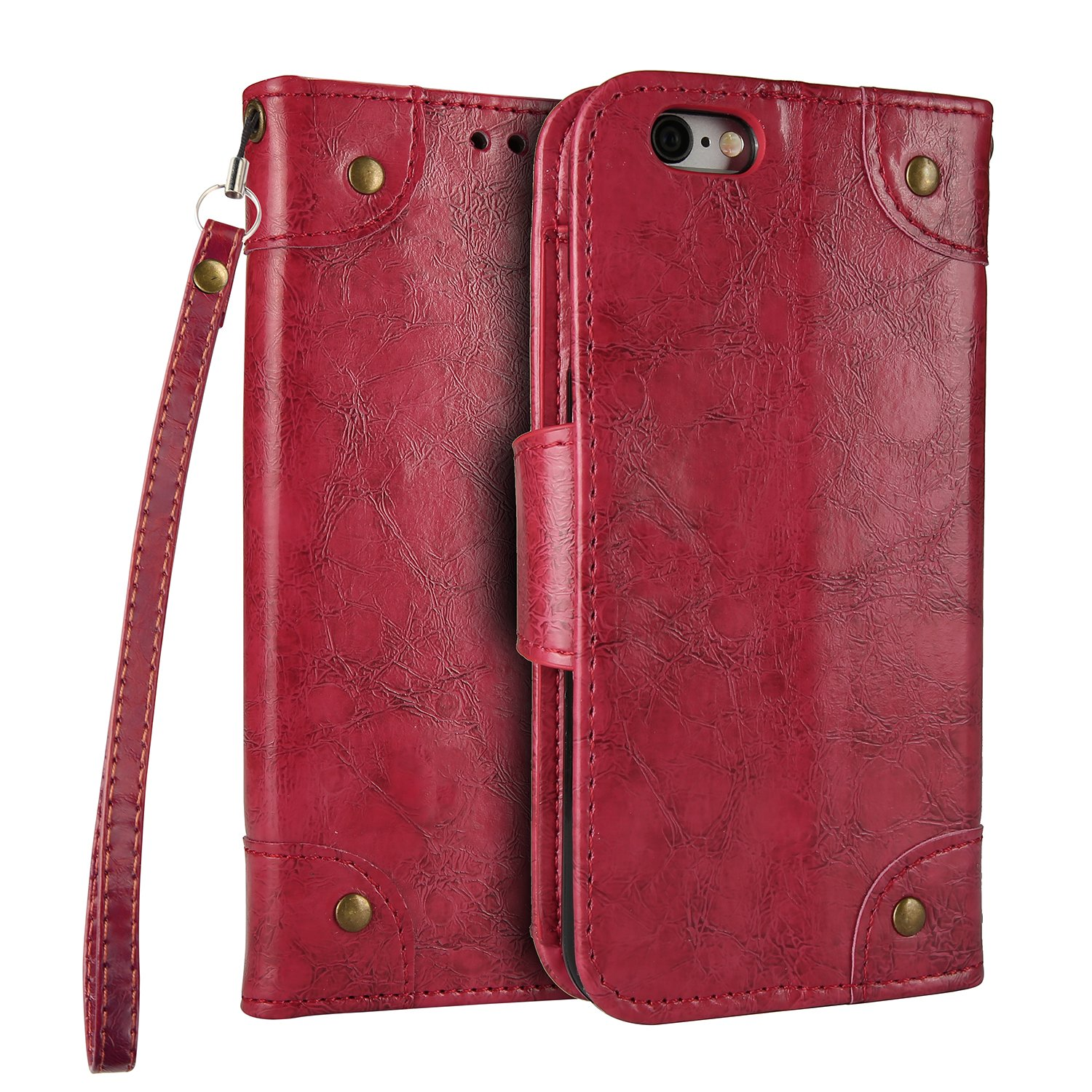 NEXCURIO [Vintage] iPhone 5S 5 SE Wallet Case with Card Holder Folding Kickstand Leather Case Flip Cover for Apple iPhone 5S 5 SE - NEHHA10123 Red