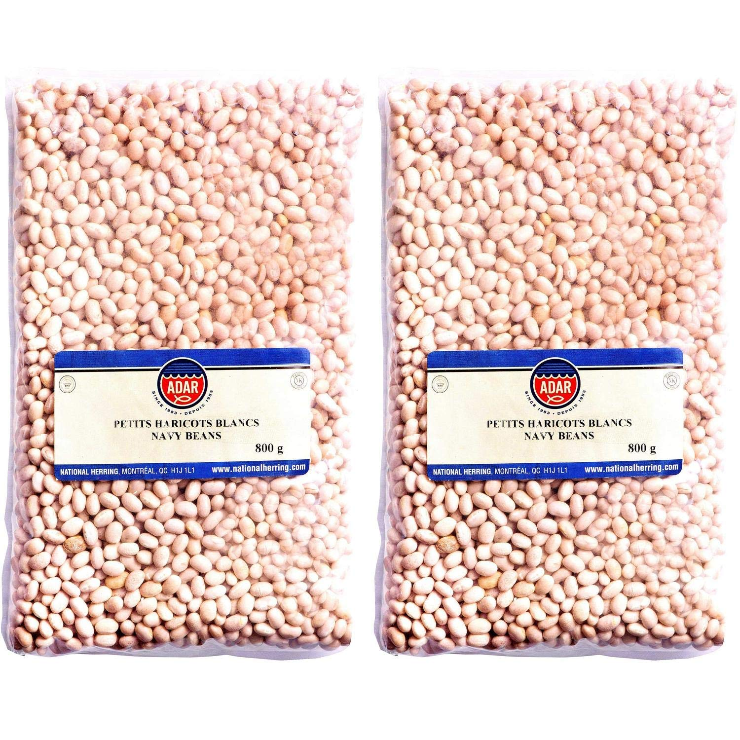 Dry White Navy Beans, 2 Bags, Total of 3.5 Pounds | Dried Kosher Legumes, Non-GMO and Vegan Friendly, Fresh Delicious Flavor for Soups, Salads, Chili or Meals, Rich in Iron, 56-Oz. Bulk Order