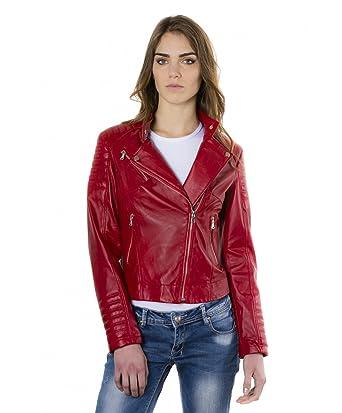 56e399b4799e D Arienzo - Karim Trap • Couleur Rouge • Veste en Cuir Femme Perfecto Cuir