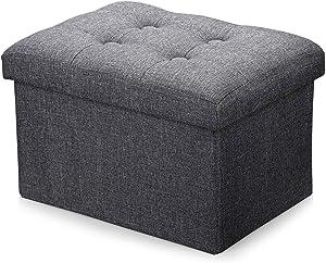 Alasdo Storage Ottoman Foldable Rectangle Cube Coffee Table Multipurpose Foot Rest Short Children Sofa Stool,Linen Fabric Ottomans Bench Foot Rest for Bedroom,(Dark Grey)