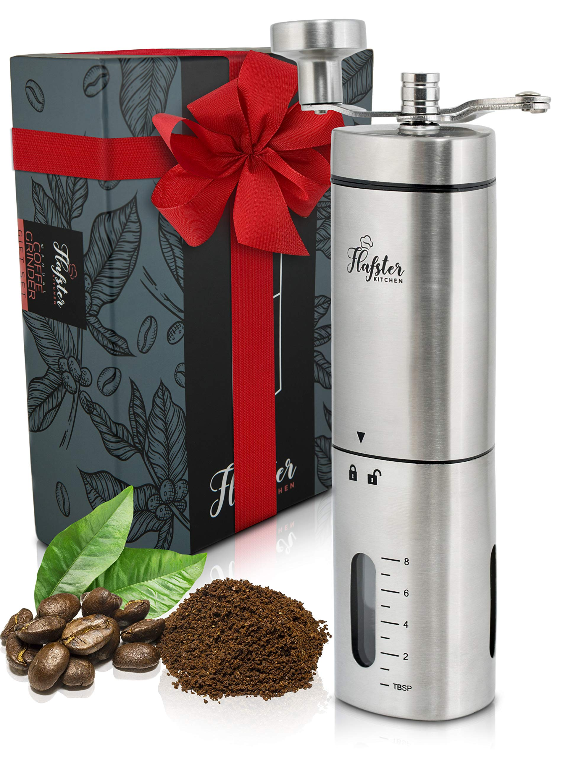 Manual Coffee Grinder - Conical Burr Coffee Grinder - Hand Coffee Grinder Gift Set - Adjustable for Fine/Coarse Grind, Perfect for French Press, Cold Brew & Pour Over - Burr Mill Coffee Grinder by FLAFSTER KITCHEN
