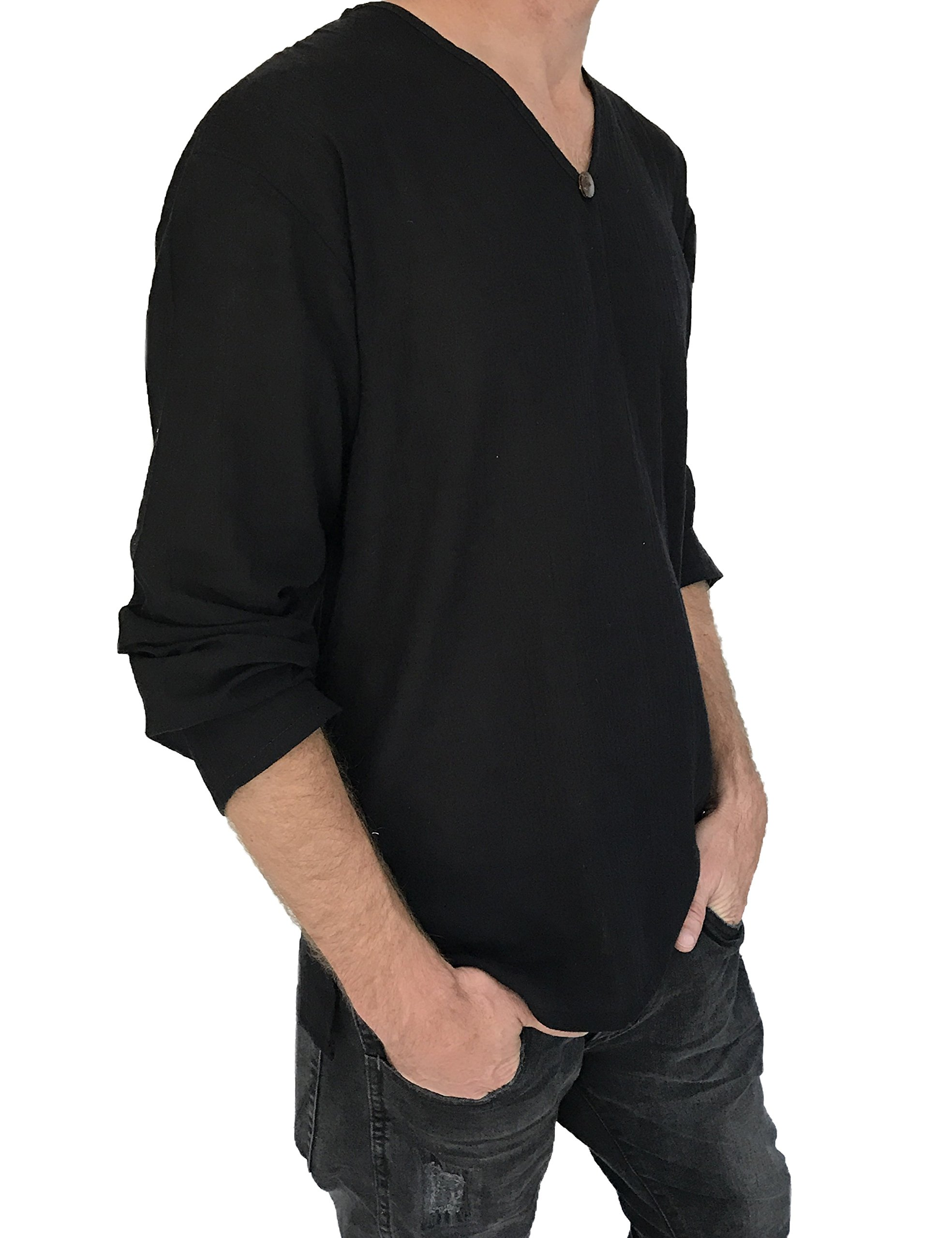 Love Quality Men's T-Shirt 100% Cotton Hippie Shirt Beach Yoga Top Feature Button (Medium, Black)