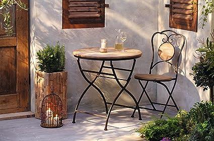Amazon De Gartenmobel Rustic Als Set Oder Einzeln Gartenstuhl Gartentisch Eisen Holz Ausgefallen Kombi Tisch Stuhl
