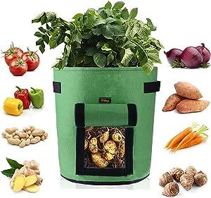 Mixhome 2 Pcs Potato Grow Bag, 9 Gallon Vegetable Planter Bag, Visualized Nylon Button Window and Handles, Gardening Vegetable Planter Container, Garden Vegetable Growing Bags (Green)