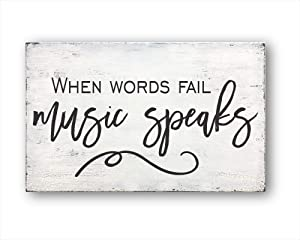 DKISEE When Words Fail Music Speaks, Housewarming Gift, Farmhouse Decor, Home Decor Decorative Wood Sign - Farmhouse Wall Decor 9.8x15.0 inches