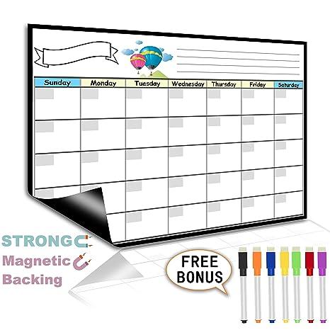 Amazon.com: Calendario mensual de nevera con borrado en seco ...
