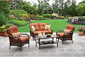 Patio All Weather Outdoor Furniture Set That Seats 4 Comfortably for Enjoying Campfires in the Back Yard or Around the Pool or Deck.