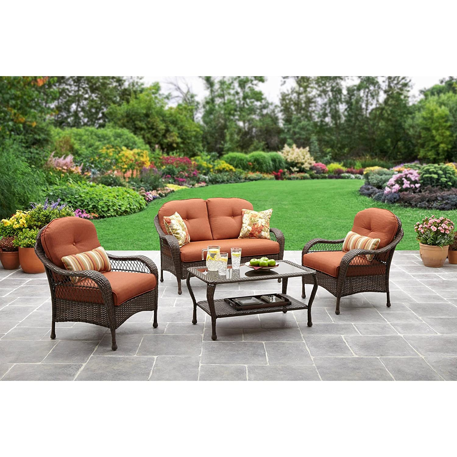 Amazon com patio all weather outdoor furniture set that seats 4 comfortably for enjoying campfires in the back yard or around the pool or deck