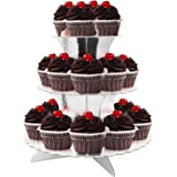 3-Tier Cardboard Party Cupcake Display Stand/Dessert Stand Cupcake Tower/Tea Party Pastry Serving Platter/Cake Tray/Folding Cake Rack for Birthday,Party,Wedding-silver