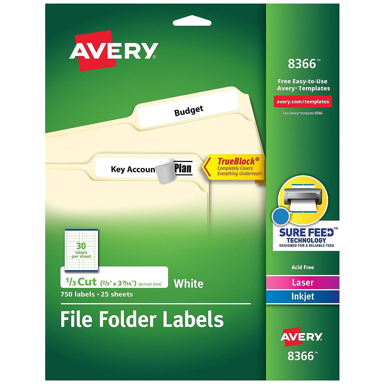 "Avery File Folder Labels, TrueBlock Technology, Permanent Adhesive, 2/3"" x 3-7/16"", 750 Labels (8366), White"