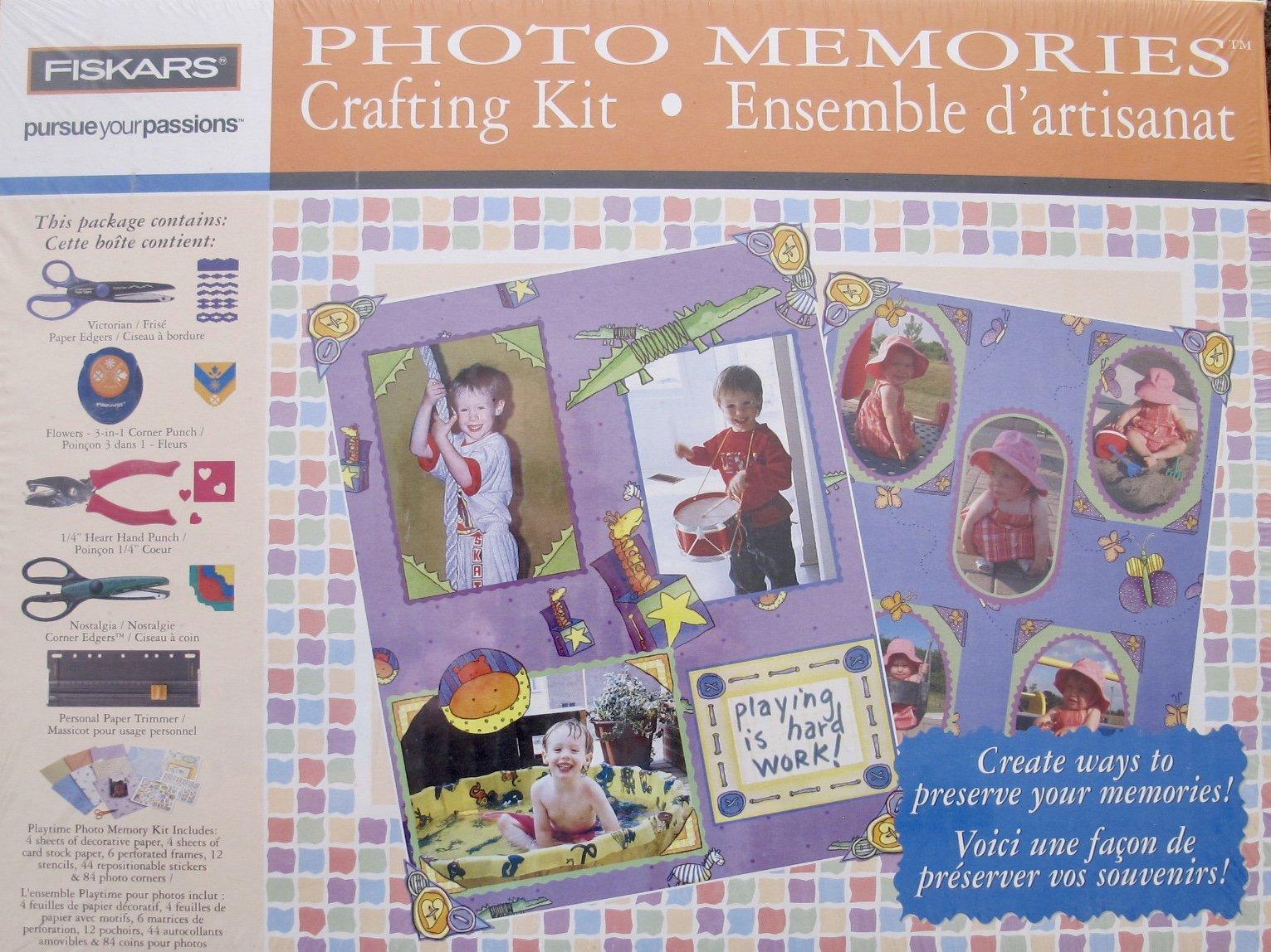 FISKARS Craft PHOTO MEMORIES CRAFTING KIT w Decorative EDGERS, 3-in-1 Corner PUNCH, FLOWER Hand PUNCH, 12 STENCILS & More!