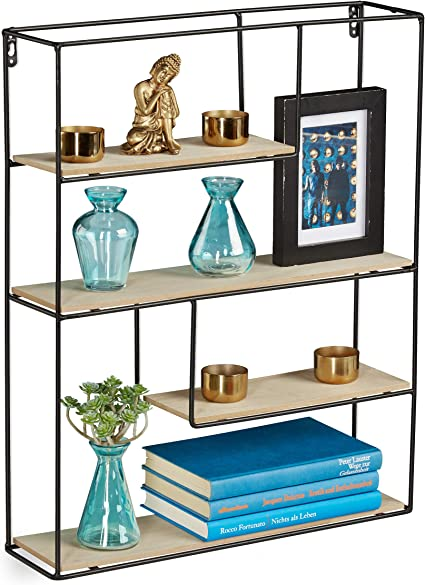 Relaxdays Estantería de Pared, Cuatro estantes, Diseño ...