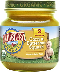 Earth's Best Organic Stage 2 Baby Food, Corn and Butternut Squash, 4 oz. Jar